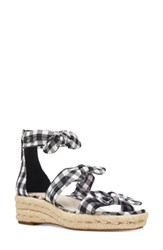 Nine West Allegro Knotted Espadrille Sandal Black White Fabric