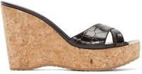 Jimmy Choo Black Leather And Cork Perfume Wedge Sandals