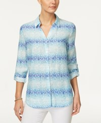 Charter Club Linen Roll Tab Shirt Only At Macy's Modern Blue Combo
