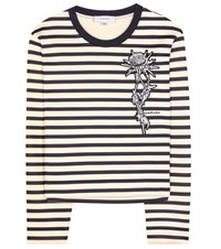 Carven Embroidered Cotton Sweater Blue