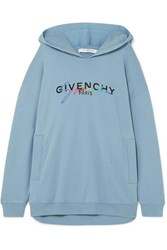 Givenchy Oversized Printed Embroidered Cotton Jersey Hoodie Light Blue