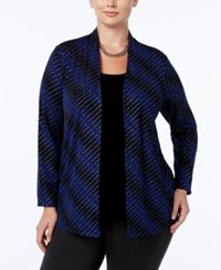 Jm Collection Plus Size Striped Layered Look Top Only At Macy's Blue Stripe Explosion