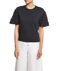 See By Chloe Short Sleeve Fringe Jersey Tee Black