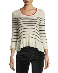 Isabel Marant Amalia Striped Scoop Neck Sweater Neutral Pattern