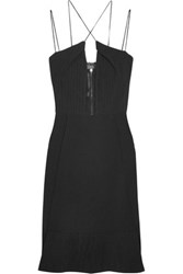 Roland Mouret Clere Pleated Chiffon And Crepe Dress Black