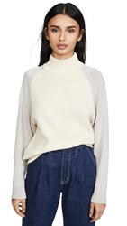 Club Monaco Colorblock Mock Neck Sweater Grey Multi