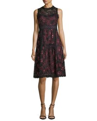 Nanette Lepore Ruby Sleeveless A Line Lace Cocktail Dress W Sequins Black Scarlet