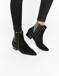 Eeight Stud Glitter Suede Point Ankle Boots Black Suede