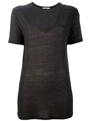 T By Alexander Wang Scoop Neck T Shirt Brown