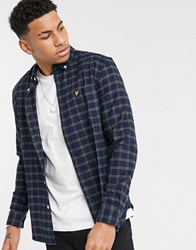 Lyle And Scott Check Flannel Shirt In Green Navy