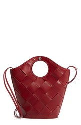 Elizabeth And James Small Market Woven Leather Crossbody Shopper Red Cranberry