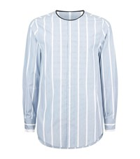 3.1 Phillip Lim Striped Collarless Shirt Male Blue