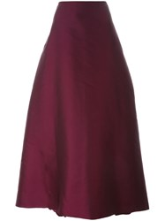 Alberta Ferretti Long Pleated Skirt Red