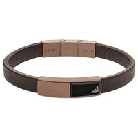 Emporio Armani Men's Leather Onyx Logo Bracelet Brown