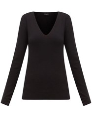 Joseph V Neck Silk Blend Jersey Sweater Black