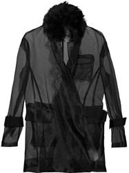 Sacai Transparent Belted Jacket Black