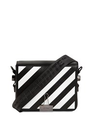 Off White Diag Printed Leather Shoulder Bag Black