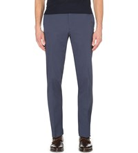 Brioni Slim Fit Tapered Stretch Cotton Trousers Blue