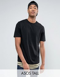Asos Tall Super Longline T Shirt With Scoop Neck And Stripe Hem Extender Black