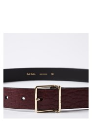 Paul Smith Men's Damson Heavy Grained Calf Leather Integrated Keeper Belt Purple