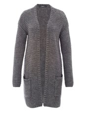 Hallhuber Long Cut Cardigan Silver