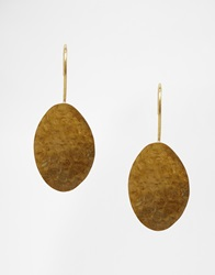 Made Hammered Disc Drop Earrings Gold