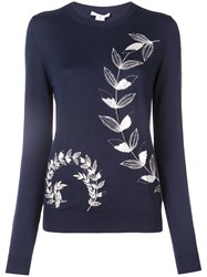 Oscar De La Renta Leaf Embroidered Pullover Blue