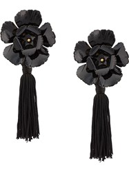Jennifer Behr Floral Tassel Earrings Black