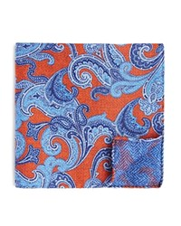 Bloomingdale's The Men's Store At Double Sided Paisley And Herringbone Pocket Square Orange