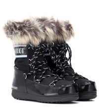 Moon Boot Monaco Low Fur Trimmed Ankle Boots Black