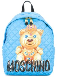 Moschino Quilted Bear Backpack Blue
