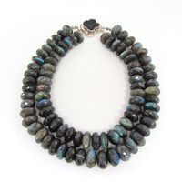 Dripping In Gems Double Strand Labradorite Rondelle Necklace Silver