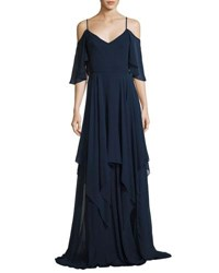 Theia Cold Shoulder Silk Georgette Gown Blue