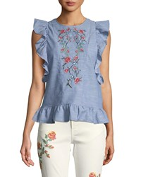 Dex Embroidered Butterfly Sleeve Open Back Blouse Blue