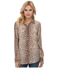 Equipment Slim Signature Leopard Print Natural Multi Women's Long Sleeve Button Up