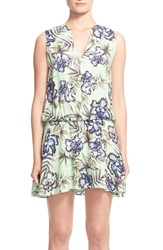 Alice Olivia 'Brook' Sleeveless Blouson Floral Print Dress Oasis Floral Mint