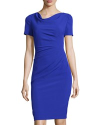 Adrianna Papell Ruched Cowl Neck Sheath Dress Iris Purple