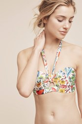 Anthropologie Halter Bandeau Swim Top Red Motif