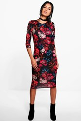 Boohoo Jenny Floral Print Bodycon Dress Multi