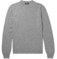 A.P.C. Melange Wool And Cashmere Blend Sweater Gray