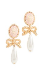 For Love And Lemons Cameo Imitation Pearl Drop Earrings Vintage Gold