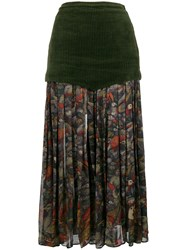 Versace Vintage Floral Pleated Midi Skirt Green