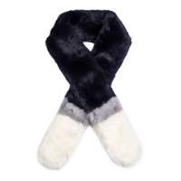 Dents Women S Three Colour Faux Fur Scarf Navy