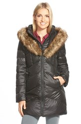 Women's Kensie Faux Fur Trim Down And Feather Fill Parka Black