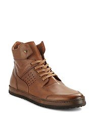 Mezlan Bolzano Leather High Top Sneakers Cognac