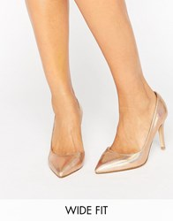 Faith Wide Fit Cliff Rose Gold Metallic Cut Out Court Shoes Rose Gold Metallic