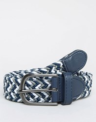 New Look Woven Belt In Blue And White Blue