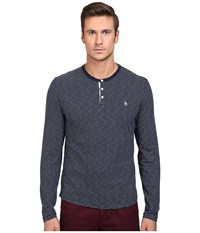 Original Penguin Feeder Stripe Henley Dark Sapphire Men's Long Sleeve Pullover Blue
