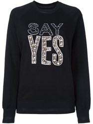 Markus Lupfer 'Say Yes' Embellished Sweatshirt Black