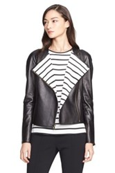 St. John Stripe Lined Nappa Leather Jacket Black
